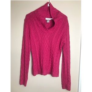 Talbots large cable knit pink sweater